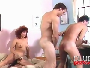 Doggystyle bareback anal in retro bisex video