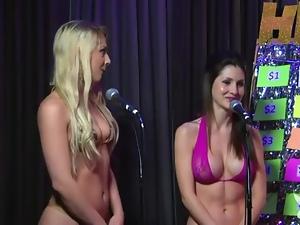 Sexy bikinis girls try a game show on radio