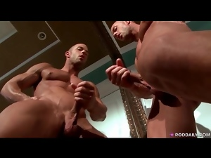 Kissing the mirror and jerking off lustily