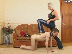 Tough blonde puts him on a leash and gets rough