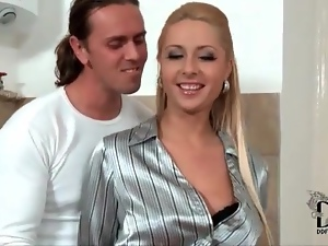 Skirt and shiny blouse girl sucks a dick