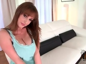 Brunette gently gropes her big sexy boobs