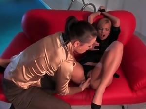 Finger fucking her lovely blonde lesbian lover