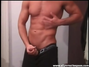 Perfect body dude with hot abs jerks off