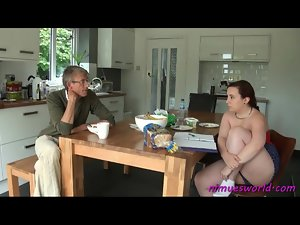 Couple chats over breakfast and he spanks her