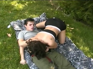 Busty brunette drilled hard during picnic