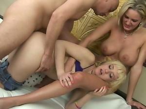 Teen slut learns deepthroat by busty milf!