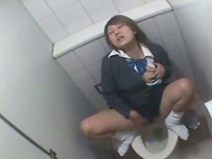 Asian schoolgirl toilet masturbation