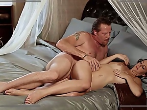 Sultry brunette topped by grandpa's cock
