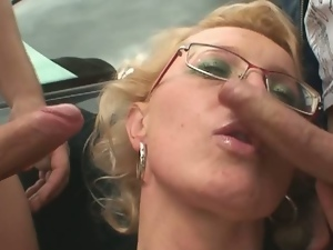 Blonde granny tag teamed outdoors