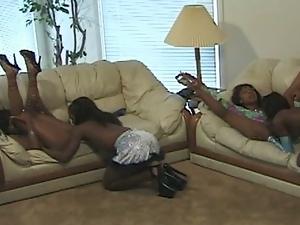 Four ebony lesbians set an amazing orgy