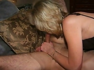 Attractive old blonde masturbates and gets banged