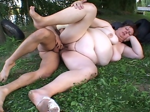 Fat mature nailed by young guy