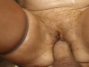 Blonde mature in nylons gets dped in the kitchen