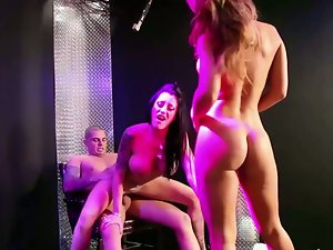 Busty strippers fucking and sucking in sex-party.
