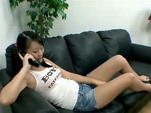 Asian teen has phone sex