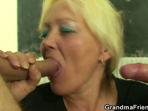 Two lucky studs have fun with a nasty mature