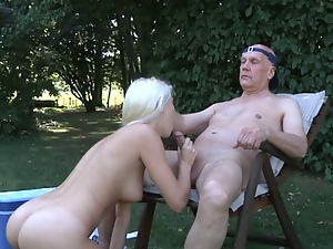 Bald old man nailed a young pussy outdoors