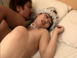 Japanese splattered with cum after a hard fuck