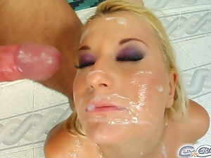 Myra's throat gets attacked by four horny cocks