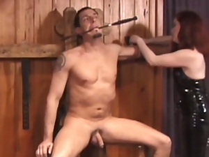Redheaded mistress tortures her slave's cock
