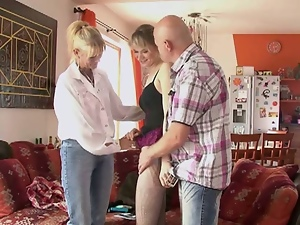 Blonde teen threesomed by older couple