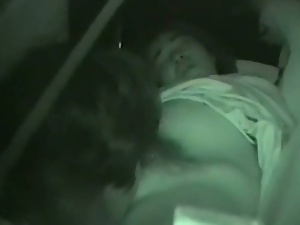 Hardcore sex in the car is captured by a spy cam