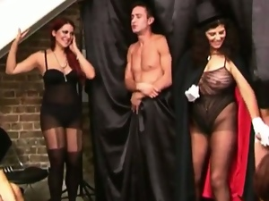 Hot cfnm babes enjoying male domination show