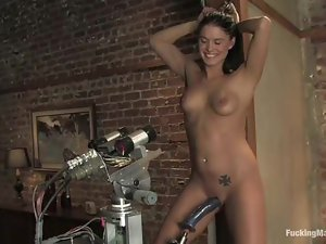 Sexy brunette Jody Love enjoys playing with a fucking machine
