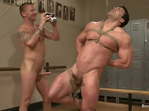 Muscled Vince Ferelli gets ass fucked by a guy in a sports hall
