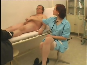 Sex doctor is going to be naughty with a grandpa