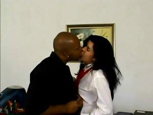 Latin girl in school uniform takes big black cock in her ass