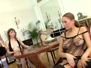 Three horny lesbian chicks masturbate and toy each other