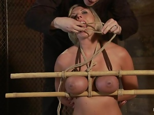 Hog tied Skylar Price gets covered with wax and toyed