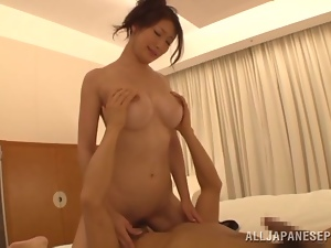 Japanese MILF rides a dick and gets creampied in a bedroom