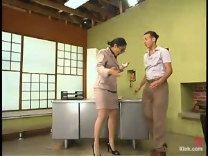 BDSM pleasures in the office wit Mika and Sebastian