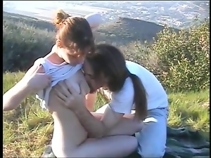 Lovely Energetic Couple Fucks Outdoors Over the Grass