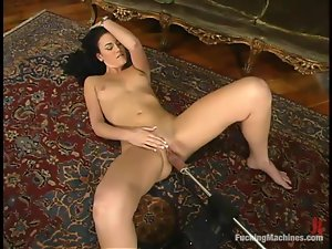 Hot Faith fondles her pussy and gets toyed by fucking machines