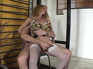 Curly blonde tranny gets ass fucked and facialed