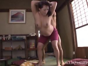 Neko Ayami the juicy cougar gets rammed on the floor