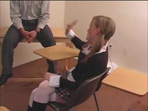 Salacious student Avery gets her ass beaten hard in a classroom