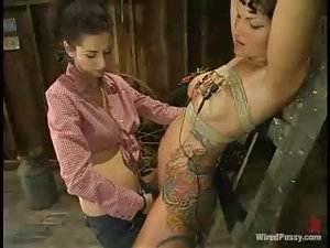 Horny Betty Baphomet gets her tits and pussy hit with electricity