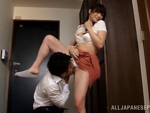 Yuu Kawakami gets her Japanese pussy licked and fucked from behind