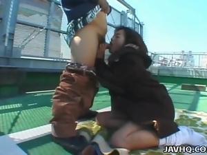 Japanese teen Momo Himeno gets a facial Uncensored