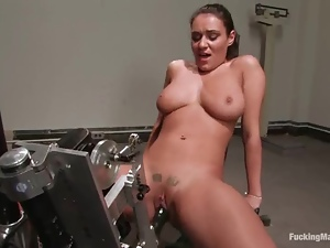 Big tittied Charley Chase gets toyed hard in a gym
