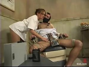 Smoking hot doctor is torturing her man patient