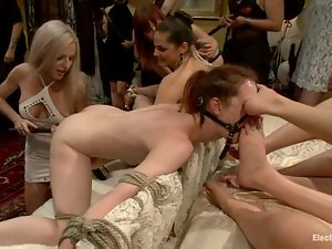 Welcome to the BDSM femdom party with some slaves