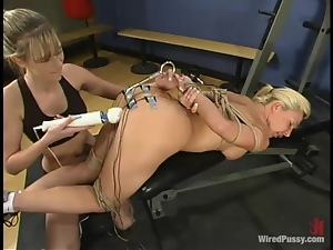Hardcore femdom action takes place in the gym