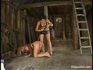 Sexy lesbians Trina and Cami play BDSM games in a shed