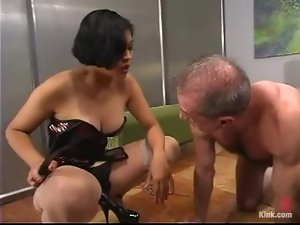 Billy Budd gets humiliated, beaten and fucked by Mika Tan in BDSM scene